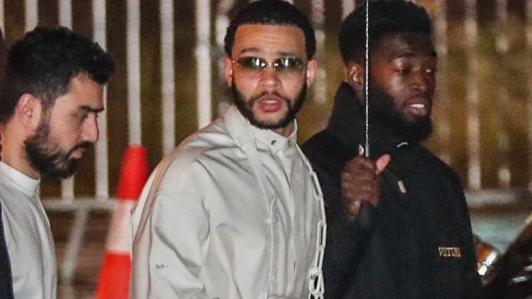 Lyon forward Memphis Depay also went to the white-themed bash in the French capital