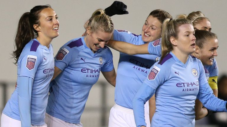 Gemma Bonner of Manchester City celebrates with team-mates