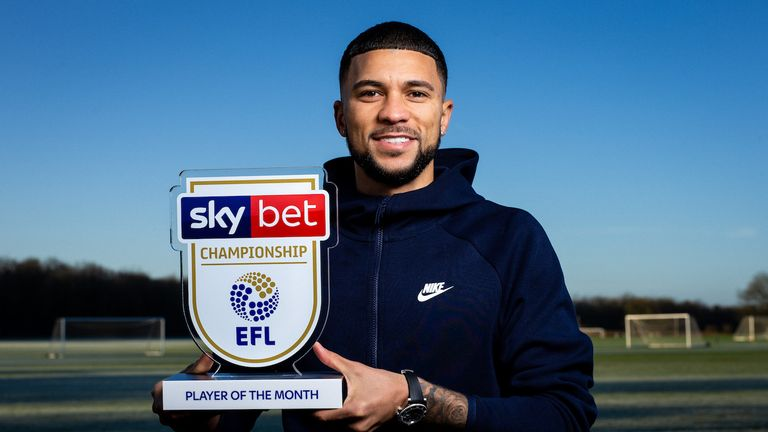 Nahki Wells of Bristol City is presented with the Sky Bet Championship Player of the Month Award which he won thanks to his performances for QPR