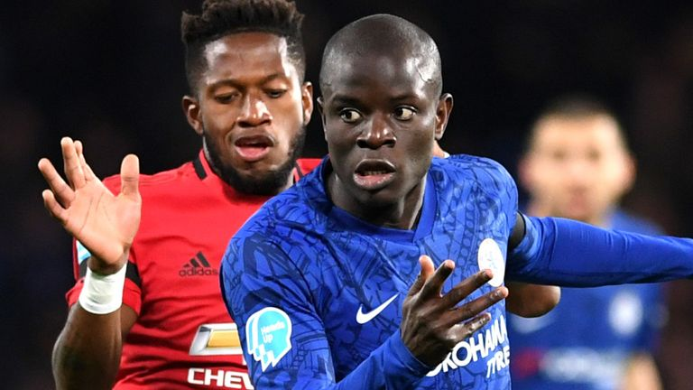 N'Golo Kante was forced off injured in the first half of Chelsea's defeat to Manchester United on Monday