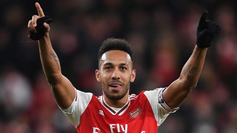 Aubameyang celebrates following Arsenal's 3-2 win over Everton