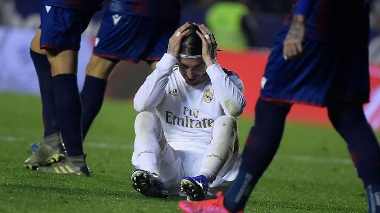 Real Madrid dropped two points behind leaders Barcelona with defeat at Levante