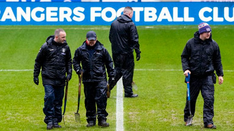 The Ibrox pitch surface failed a 12.30pm inspection on Saturday