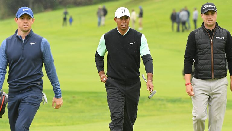Rory McIlroy plays alongside Tiger Woods and Justin Thomas