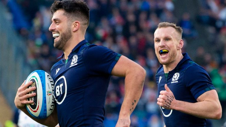 Adam Hastings strolls over for Scotland's third try