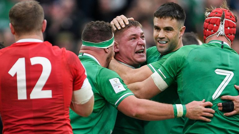 Tadhg Furlong is congratulated after scoring Ireland's second try