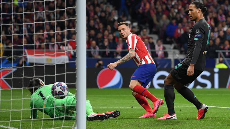 Saul Niguez put Atletico Madrid ahead early on in their Champions League match with Liverpool