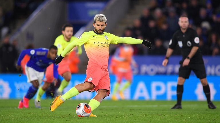 Sergio Aguero became the latest Manchester City player to miss a penalty