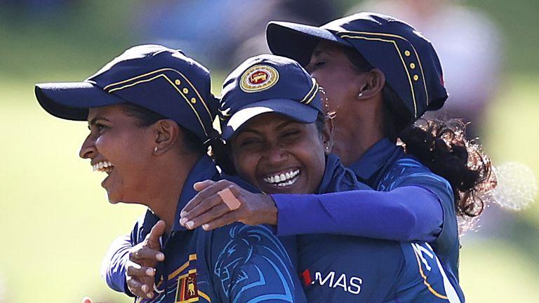 Sri Lanka's Shashikala Siriwardena (left) celebrates dismissing Australia's Beth Mooney in Perth
