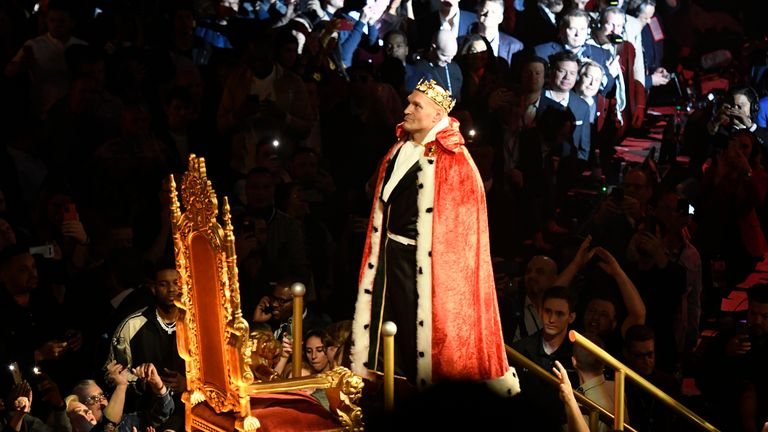 Fury came to the ring dressed as a king on a throne