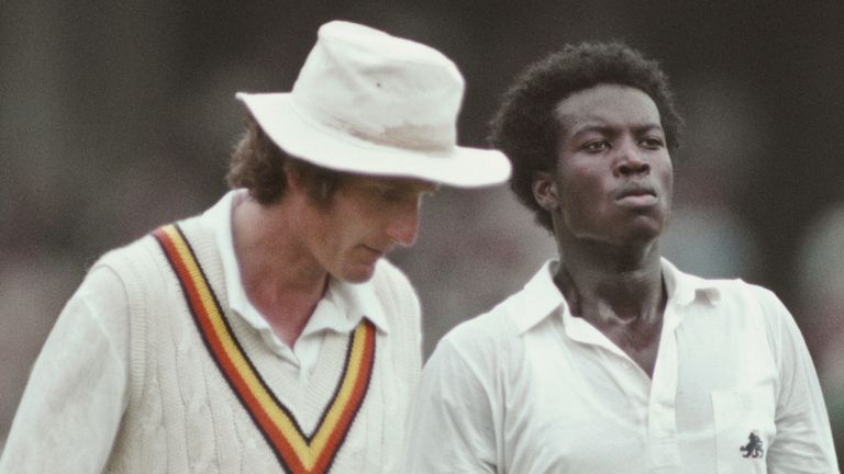 Cowans with captain Bob Willis during the fourth Ashes Test of the 1982/83 series, at Melbourne