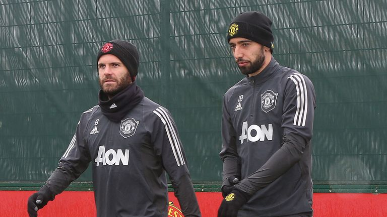 Juan Mata and Fernandes are on the same wavelength in training, says Solskjaer
