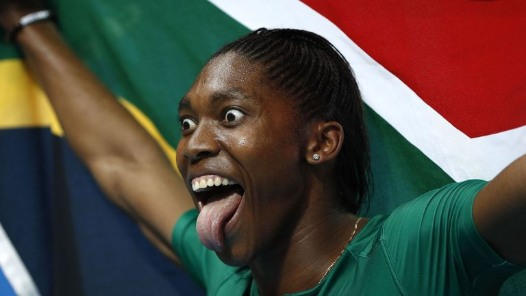 Caster Semenya celebrates winning the Olympic Gold 800m title in Rio in 2016