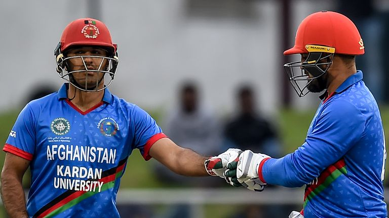 Najibullah Zadran (left) and Samiullah Shinwari put together a partnership of 63 as Afghanistan beat Ireland by 11 runs (DLS) in the first T20I
