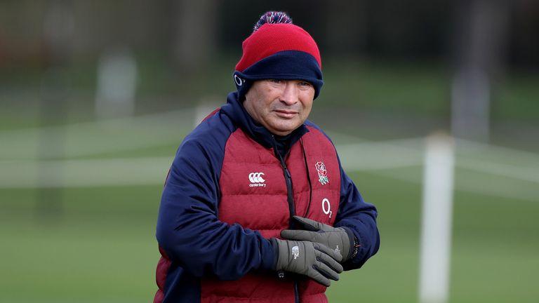 England head coach Eddie Jones oversees training