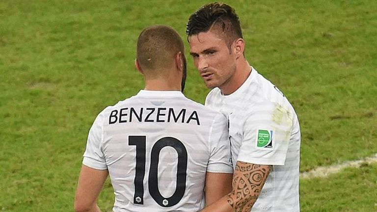 Karim Benzema (left) and Olivier Giroud have not played together for four years
