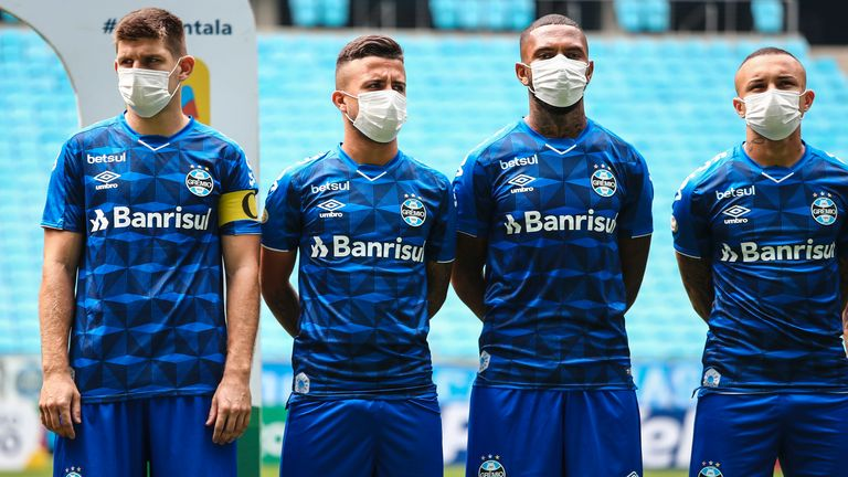 Players at Brazilian club Gremio wore face masks in protest at their match taking place despite the coronavirus outbreak - but protective equipment could become a common sight at Premier League training grounds