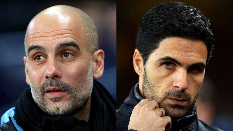 Guardiola and Mikel Arteta will go head to head when City host Arsenal in the Premier League on Wednesday, live on Sky Sports