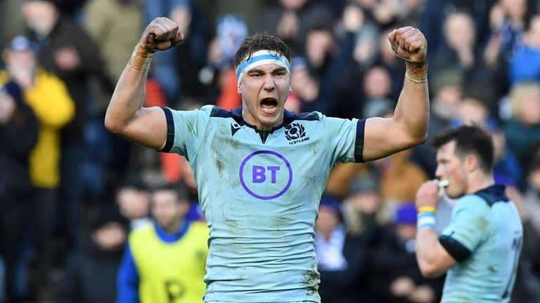 Jamie Ritchie celebrates Scotland's victory over France