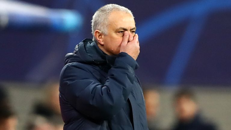 Jose Mourinho looks on during the humbling defeat