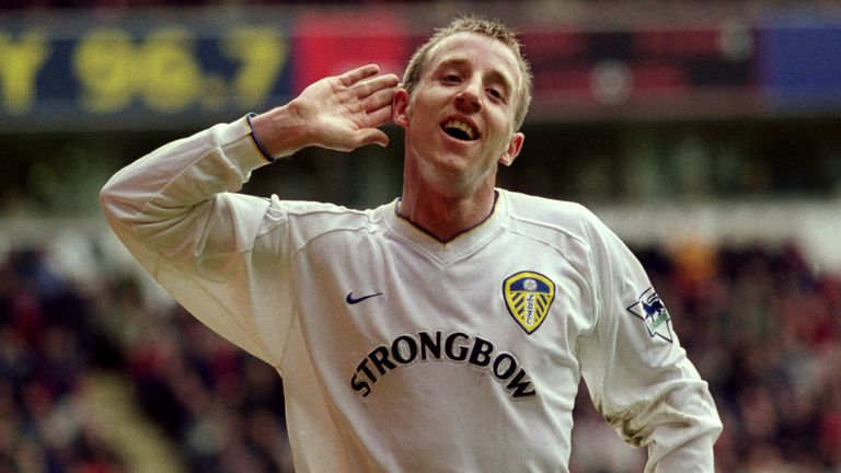 Lee Bowyer celebrates scoring against Liverpool for Leeds in April 2001