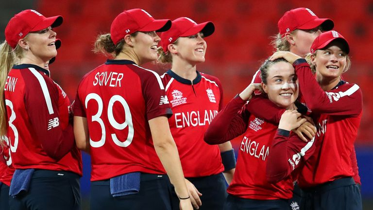 Mady Villiers celebrates her maiden World Cup wicket as England's spinners ran through the West Indies