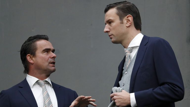 Marc Overmars (left) believes the suspended Eredivisie campaign should be cancelled