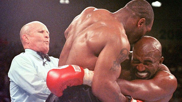 Tyson was DQ'd for biting Holyfield's ear