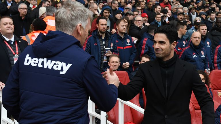 David Moyes came into close contact with Arteta on Saturday