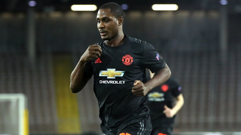 Ighalo celebrates scoring for United vs LASK in the Europa League