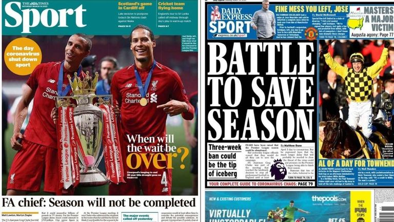 The Times and the Daily Express report fears the football season may be over
