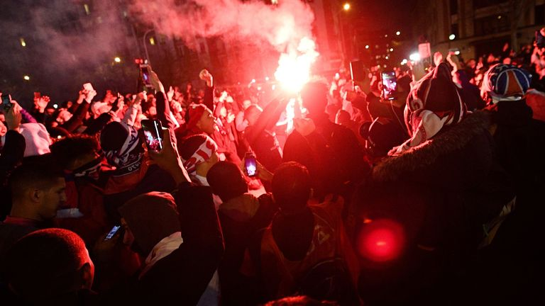Thousands of PSG fans congregated outside the Parc des Princes on Wednesday