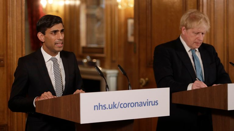 Britain's Chancellor Rishi Sunak says the Government will cover 80 per cent of salary of retained workers up to £2,500 a month
