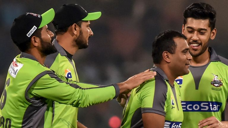 Samit Patel is congratulated after ripping through Quetta Gladiators