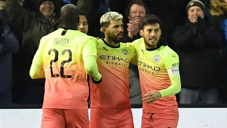 Sergio Aguero celebrates scoring Manchester City's winner against Sheffield Wednesday