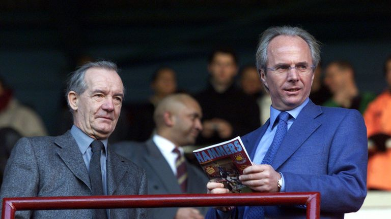 Sven-Goran Eriksson and assistant Tord Grip watch on from the stands at Upton Park