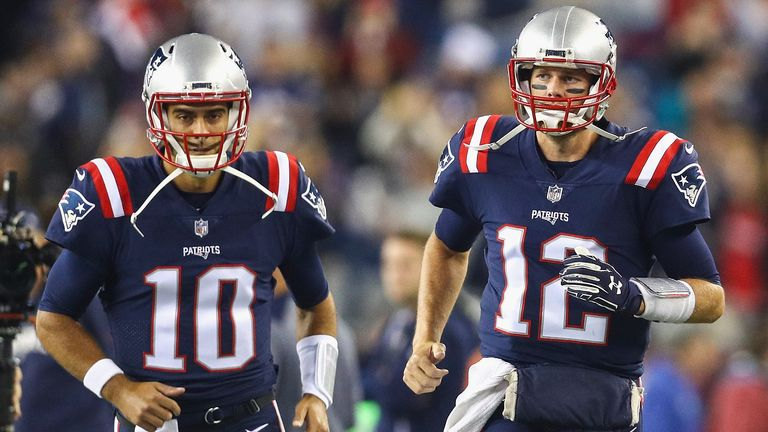Garoppolo (L) had been tipped to take over from Tom Brady (R) in New England