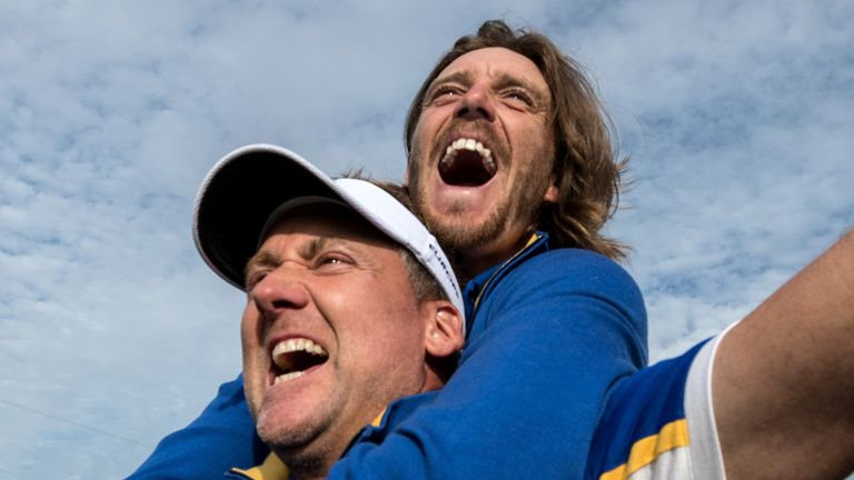 Poulter registered two points for Team Europe in 2018, as Tommy Fleetwood (right) won his first four matches as a rookie