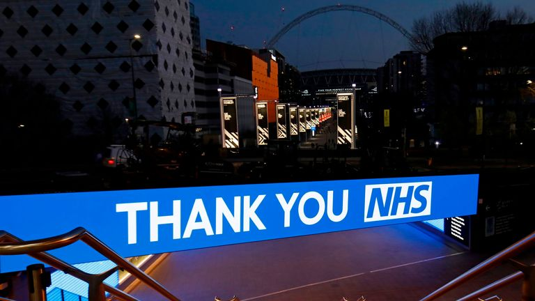 A message of thanks to the NHS is displayed on Wembley Way during the coronavirus pandemic