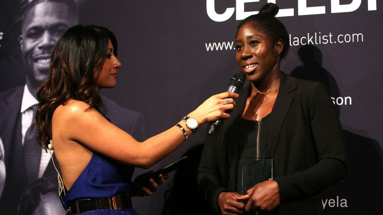 Chelsea and England's Anita Asante, who recently spoke to Sky Sports to mark Lesbian Visibility Week, won the Cyrille Regis Players' Award at the 2019 Football Black List event