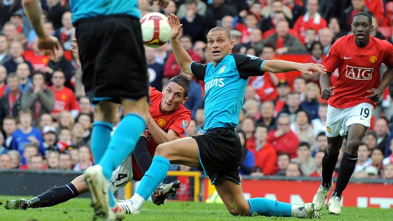 On the stretch, Macheda curls a shot past Luke Young and Brad Friedel for the 3-2 win