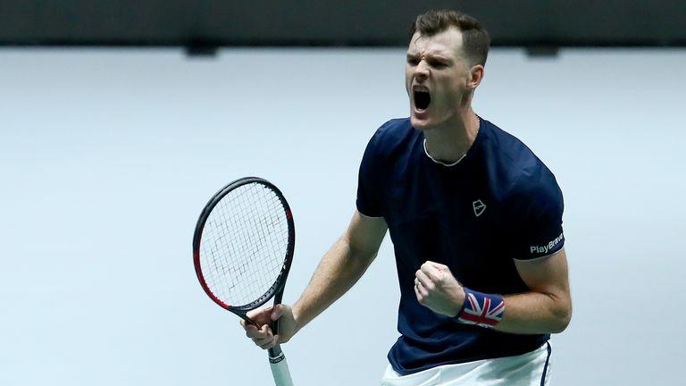 Jamie Murray in Davis Cup action