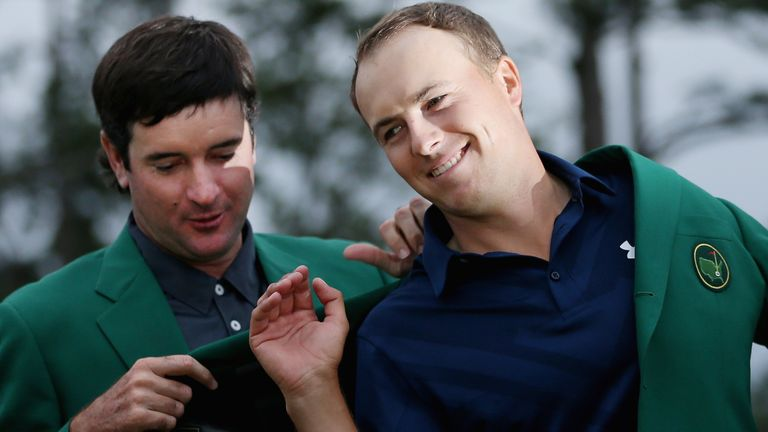 Spieth was presented his Green Jacket by 2014 champion Bubba Watson