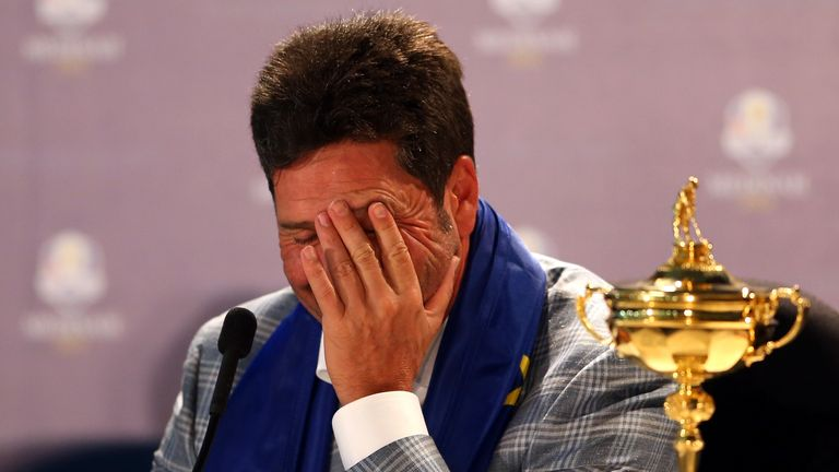 An emotional Jose Maria Olazabal dedicated Europe's win to his long-time friend, Seve Ballesteros