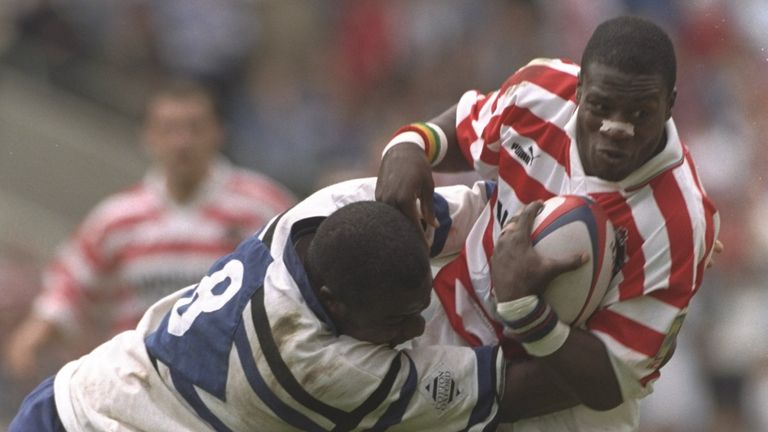 Martin Offiah in action for Wigan against Bath in the cross-code challenge in 1996