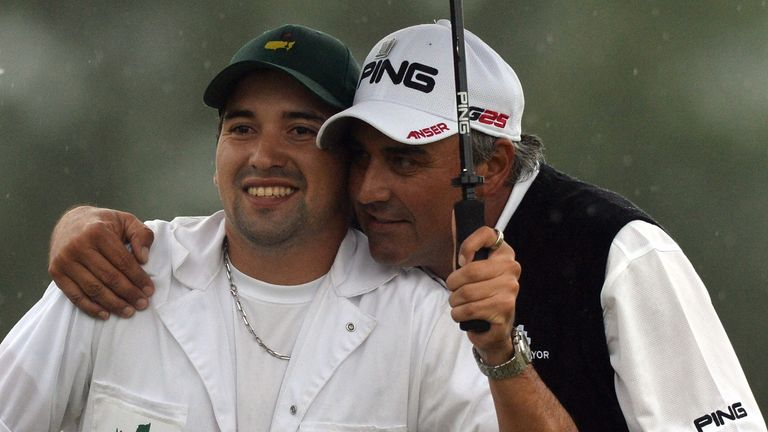 Angel Cabrera clearly enjoyed having his son on his bag in 2013