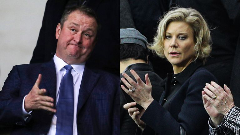 Amanda Staveley's (Right) Saudi-backed consortium are expected to complete a deal to buy Newcastle from Mike Ashley (L)
