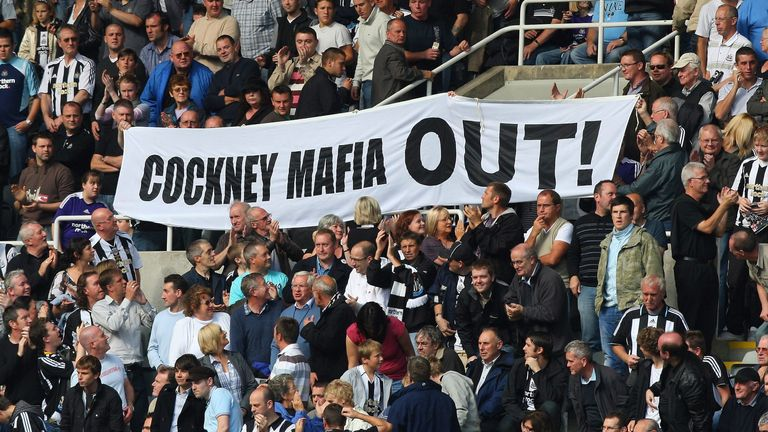 Newcastle fans show their displeasure towards the so-called 'Cockney Mafia'