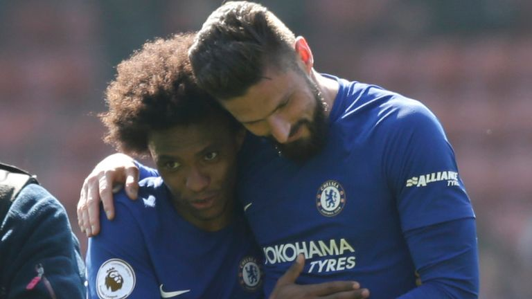 Giroud will remain at Chelsea but the future of team-mate Willian remains unclear