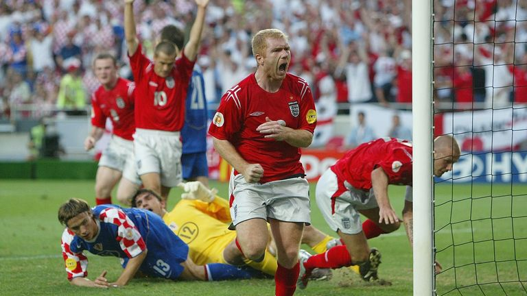 Scholes scored his final goal for England against Croatia at Euro 2004